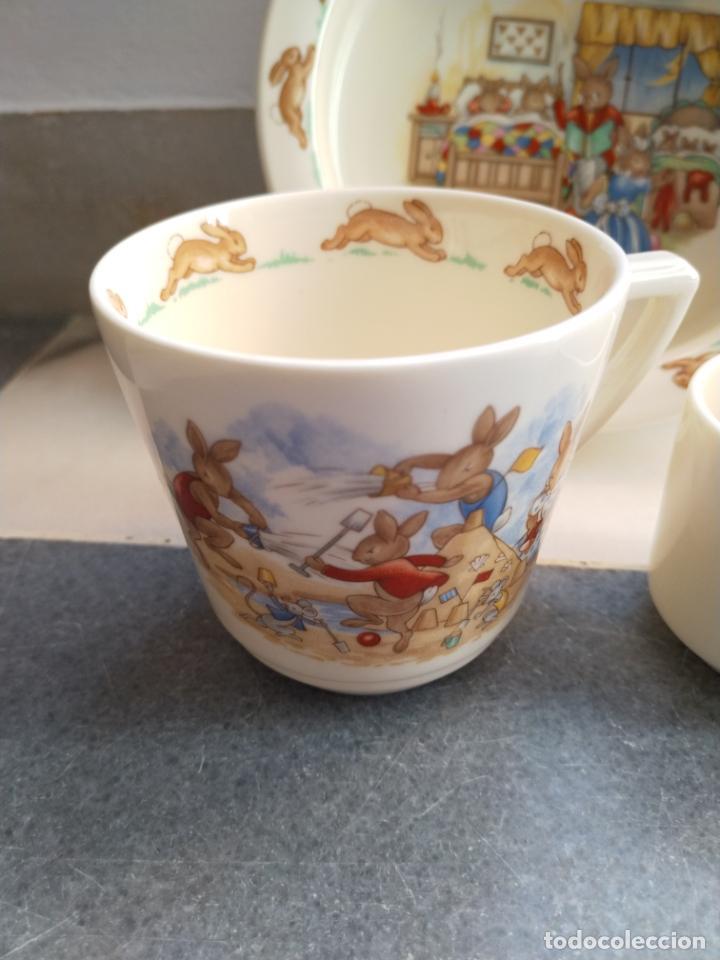 Antigüedades: Juego de tres piezas bebe porcelana Inglesa Royal Doulton Bunnykins - Foto 26 - 194233697