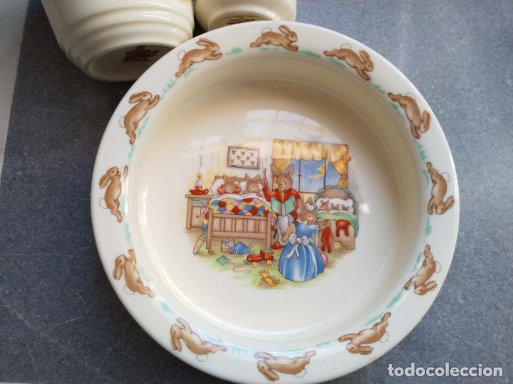 Antigüedades: Juego de tres piezas bebe porcelana Inglesa Royal Doulton Bunnykins - Foto 28 - 194233697
