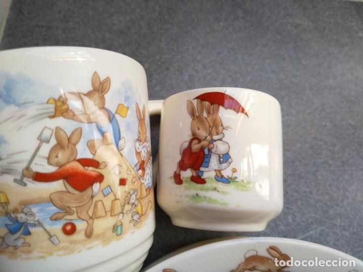 Antigüedades: Juego de tres piezas bebe porcelana Inglesa Royal Doulton Bunnykins - Foto 30 - 194233697