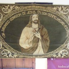 Antigüedades: ANTIGUA TELA IMPRESA TIPO TERCIOPELO,SDO.CORAZON DE JESUS.EPOCA GUERRA CIVIL.. Lote 194235525