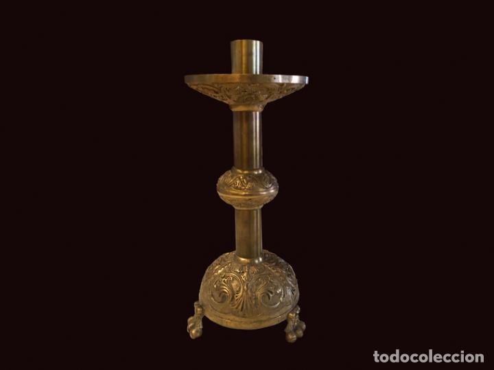 MARAVILLOSO CANDELABRO DE BRONCE ANTIGUO (Antigüedades - Iluminación - Candelabros Antiguos)