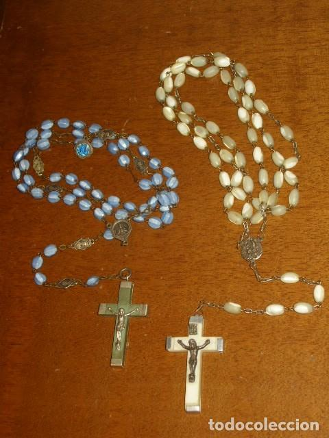2 ANTIGUOS ROSARIOS DE NACAR. (Antigüedades - Religiosas - Rosarios Antiguos)