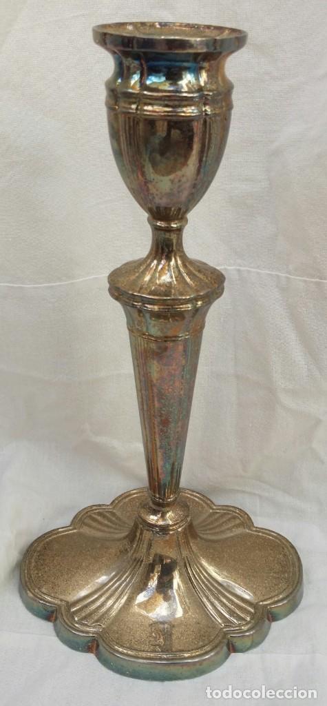 CANDELABRO DE ALPACA (Antigüedades - Iluminación - Candelabros Antiguos)
