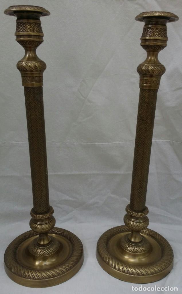 CANDELABROS DE BRONCE DE BECARA (Antigüedades - Iluminación - Candelabros Antiguos)