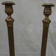 Antigüedades: CANDELABROS DE BRONCE DE BECARA. Lote 194239163