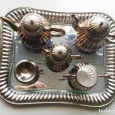 Antigüedades: SERVICIO DE CAFE DE ALPACA PLATEADA. Lote 194241275