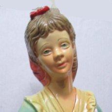Antigüedades: BONITA FIGURA DE MUJER CERAMICA . GRAN TAMAÑO. SIN SELLO DE FABRICANTE.54 CM DE ALTO. Lote 194241830