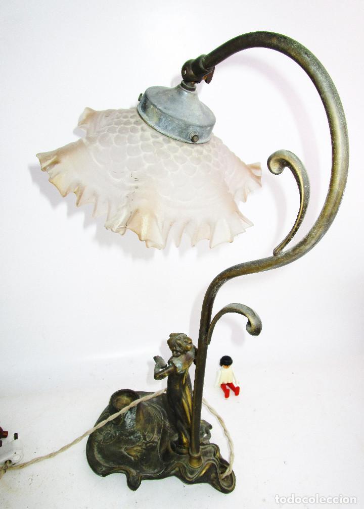 Antigüedades: PRECIOSA LAMPARA ART DECO CON TULIPA OPALINA - Foto 2 - 194242530