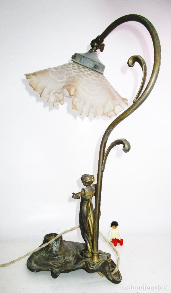 Antigüedades: PRECIOSA LAMPARA ART DECO CON TULIPA OPALINA - Foto 4 - 194242530