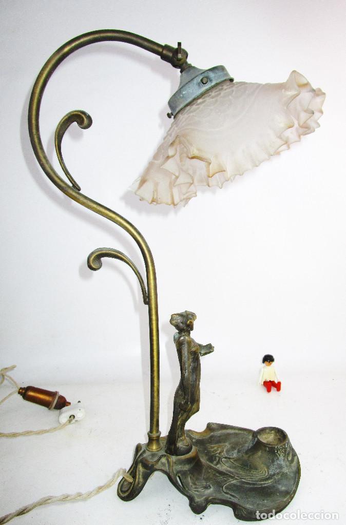 Antigüedades: PRECIOSA LAMPARA ART DECO CON TULIPA OPALINA - Foto 7 - 194242530
