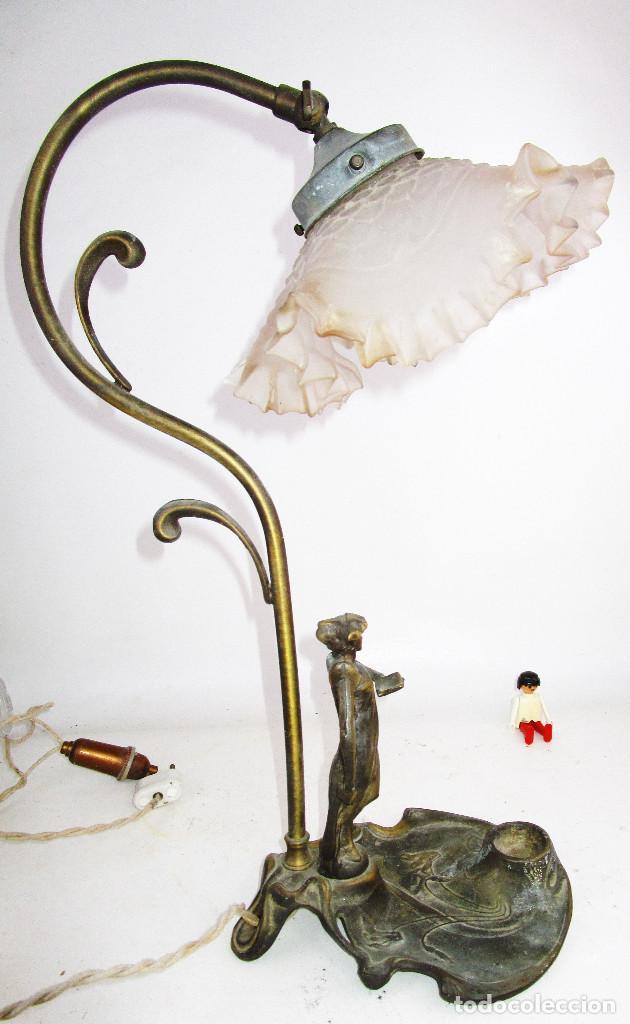 Antigüedades: PRECIOSA LAMPARA ART DECO CON TULIPA OPALINA - Foto 8 - 194242530