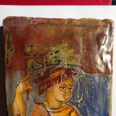 Antigüedades: ANTIGUO TROZO DE PANEL O CERÁMICA PINTADO A MANO.. Lote 194243582