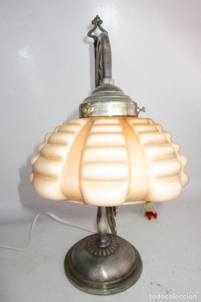 Antigüedades: PRECIOSA LAMPARA ART DECO MODERNISTA EN ACERO CROMADO Y TULIPA OPALINA SALMON - Foto 6 - 194243780