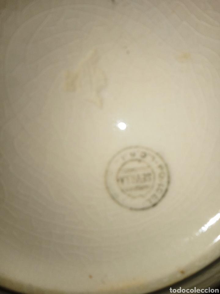 Antigüedades: PICKMAN CHINA OPACA - LA CARTUJA DE SEVILLA - FUENTE O FRUTERO - DECORADA CON MOTIVOS FLORALES - - Foto 11 - 194244182