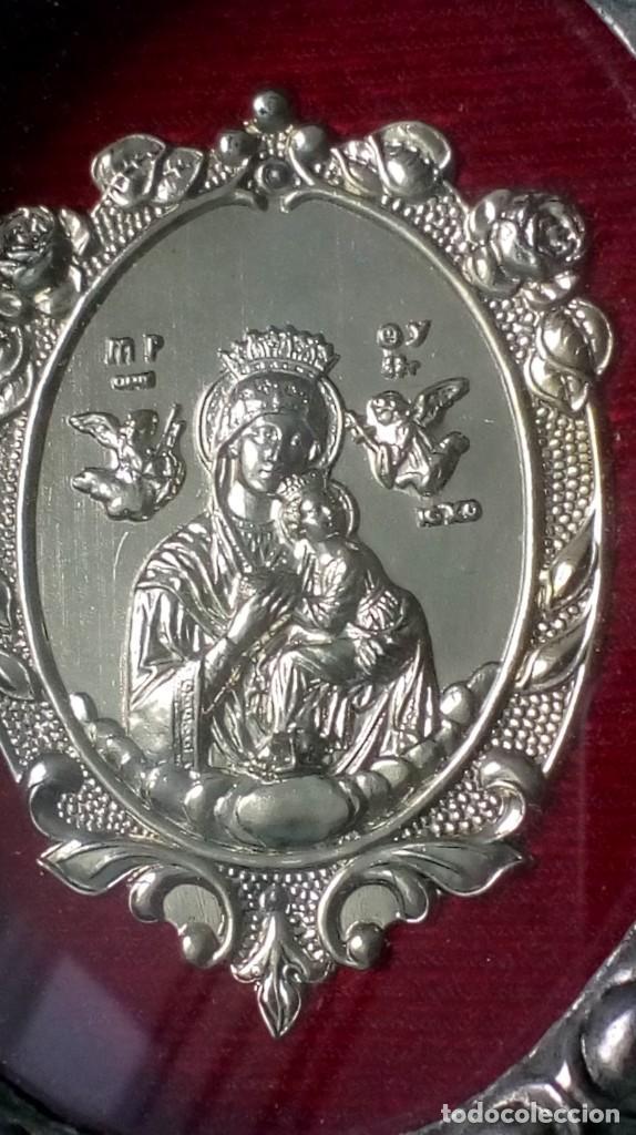 Antigüedades: ICONO PLATEADO CON ´NUESTRA SEÑORA DEL SOCORRO´ - Foto 6 - 194253122
