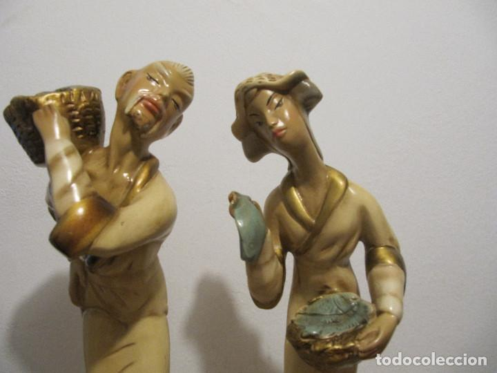 Antigüedades: MUY ANTIGUAS FIGURAS EN CERAMICA ARTE BACHERO VALLADOLID ESPAÑA-44CM - Foto 2 - 194254648