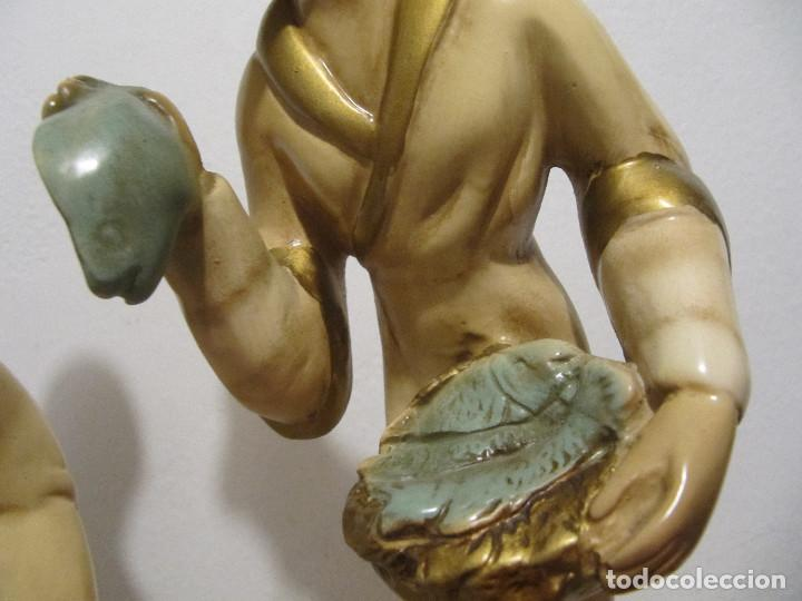 Antigüedades: MUY ANTIGUAS FIGURAS EN CERAMICA ARTE BACHERO VALLADOLID ESPAÑA-44CM - Foto 5 - 194254648