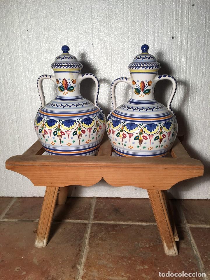 CANTARERA RUSTICA CON DOS CANTARILLAS O CANTAROS DE CERAMICA TALAVERA (Antigüedades - Porcelanas y Cerámicas - Talavera)