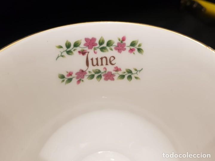 Antigüedades: Taza colección mes de Junio de porcelana inglesa. Staffordshire - Foto 2 - 194257373