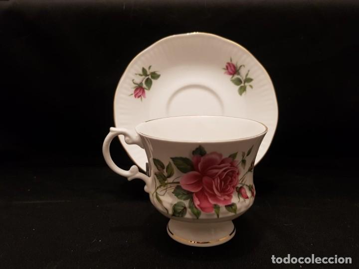 Antigüedades: Taza colección mes de Junio de porcelana inglesa. Staffordshire - Foto 4 - 194257373