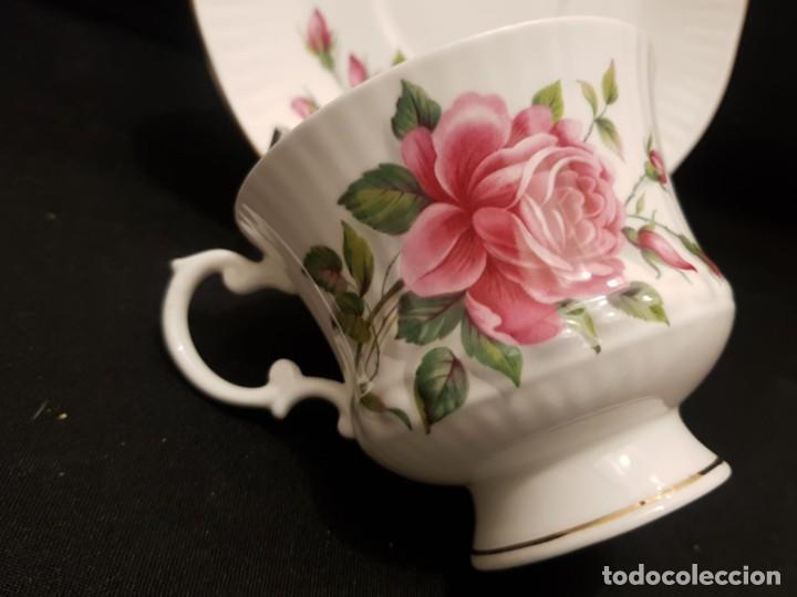 Antigüedades: Taza colección mes de Junio de porcelana inglesa. Staffordshire - Foto 5 - 194257373