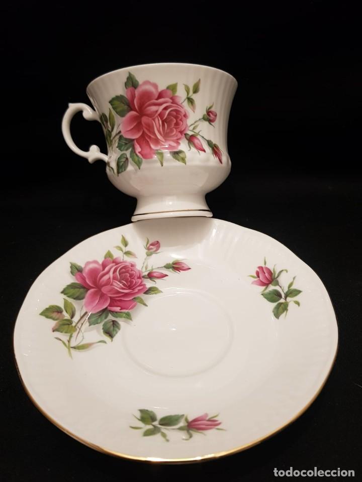 Antigüedades: Taza colección mes de Junio de porcelana inglesa. Staffordshire - Foto 6 - 194257373