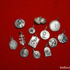 Antigüedades: LOTE 13 MEDALLAS PLATA, CONTRASTE.SANTIAGO,MONSERRAT,LIMPIAS,SAN ANTONIO, BEGOÑA,MEDINACELI,CARAVACA. Lote 194261681