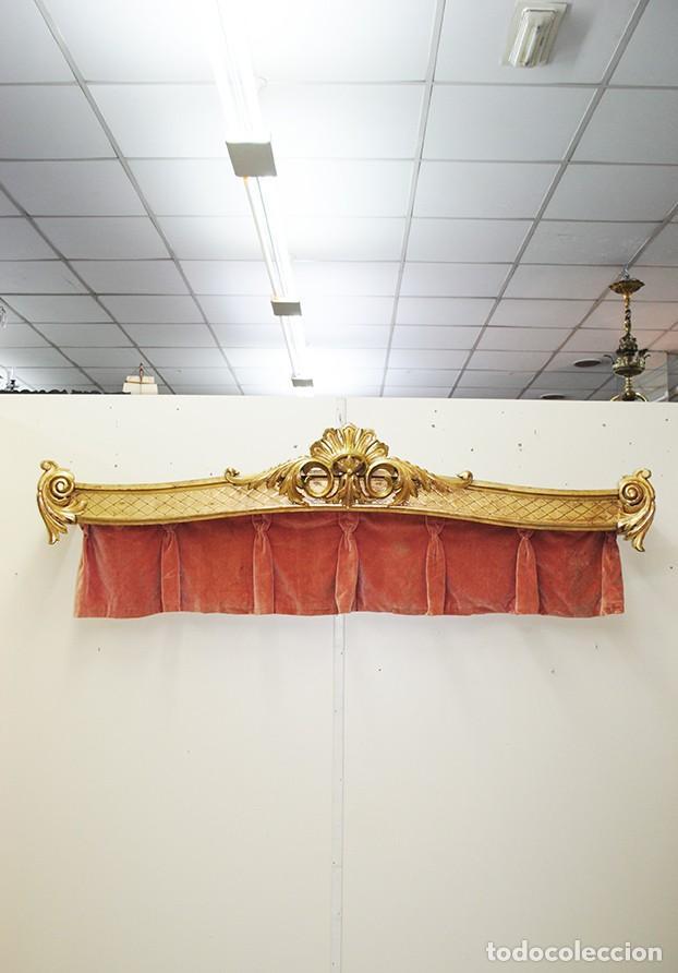 GALERÍA ANTIGUA PARA CORTINAS LUIS XV Y PAN DE ORO (Antigüedades - Muebles Antiguos - Auxiliares Antiguos)