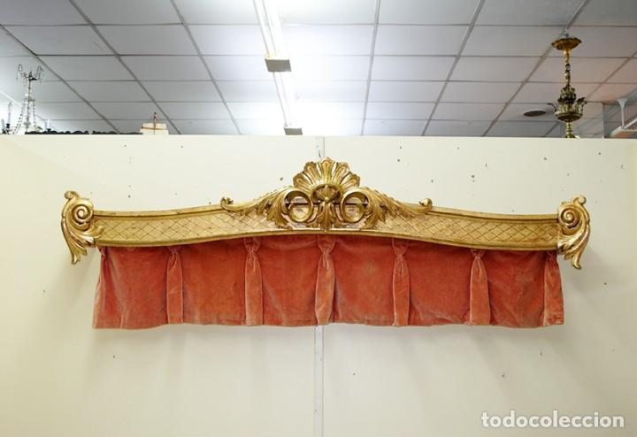 Antigüedades: GALERÍA ANTIGUA PARA CORTINAS LUIS XV Y PAN DE ORO - Foto 3 - 194263510