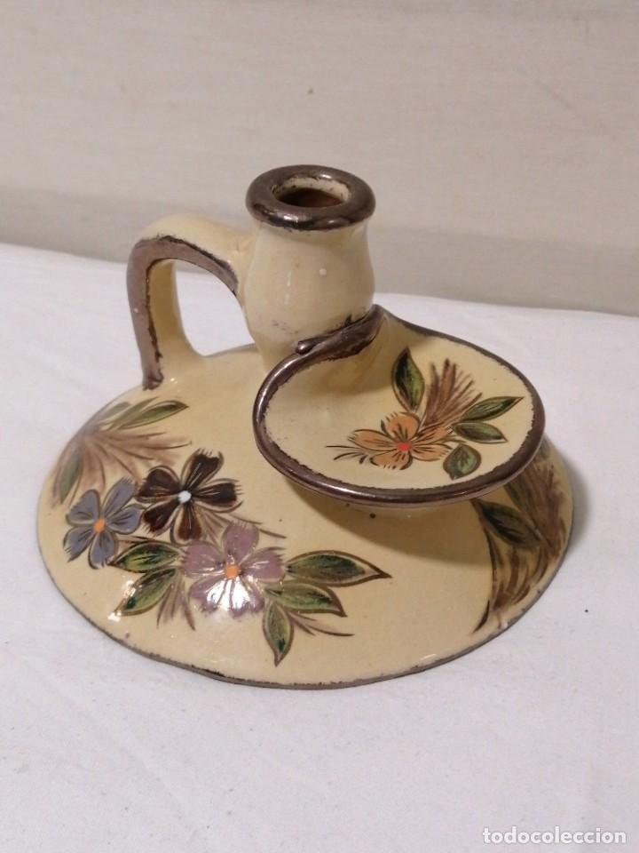 Antigüedades: Antigua Palmatoria con marcaje en barro esmaltado - Foto 2 - 194278665