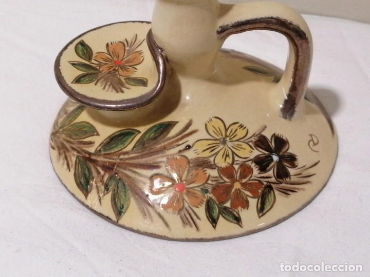 Antigüedades: Antigua Palmatoria con marcaje en barro esmaltado - Foto 4 - 194278665