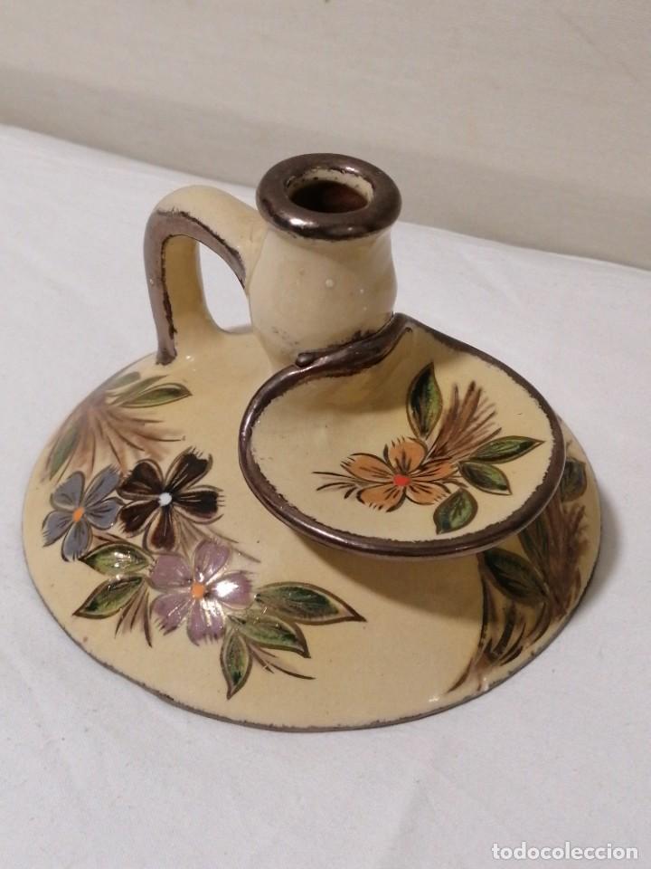 Antigüedades: Antigua Palmatoria con marcaje en barro esmaltado - Foto 5 - 194278665