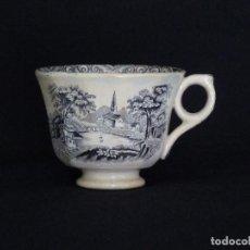 Antigüedades: TAZA DE CAFÉ ESTAMPADA CON ¨IGLESIA ENTRE ARBOLES¨ Y ¨LA BARCA¨.. Lote 194279215