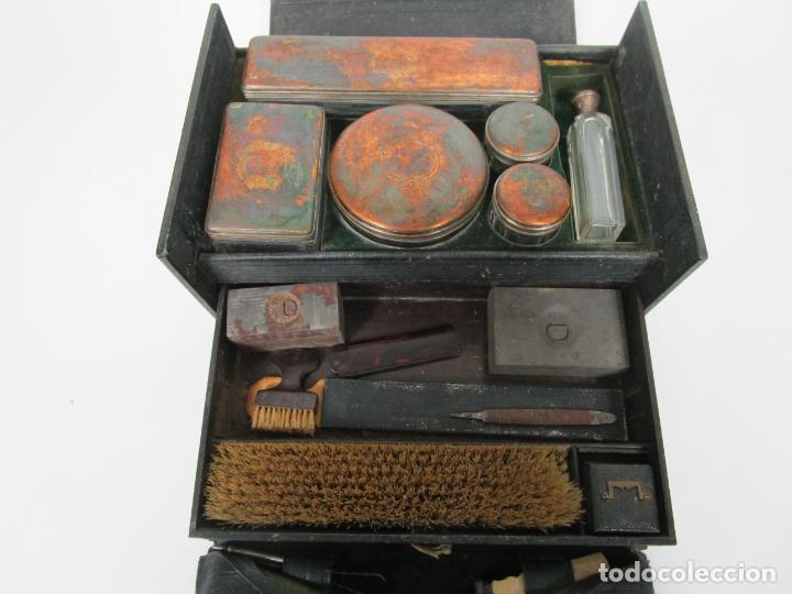 Antigüedades: Neceser de Viaje - Militar - Empuñaduras en Hueso - con Tintero, Navajas Afeitar, etc - S. XIX - Foto 29 - 194281241