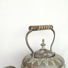 Antigüedades: TETERA DE COBRE Y LATON. Lote 194291510