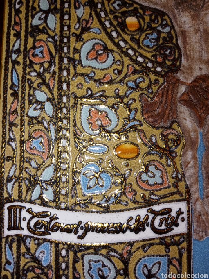 Antigüedades: PLACA DE AZULEJO - CRISTO VENERABLE - CUARTO CENTENARIO - ALCORA - RELIEVES Y ESMALTES- IMPRESIONAN - Foto 7 - 194291932