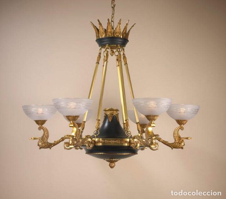 LÁMPRA CLÁSICA ESTILO IMPERIAL (Antigüedades - Iluminación - Lámparas Antiguas)