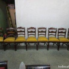 Antigüedades: SILLERÍA ISABELINA - 8 SILLAS - MADERA DE CAOBA CON MARQUETERÍA - TAPICERÍA ORIGINAL - S. XIX. Lote 194315790