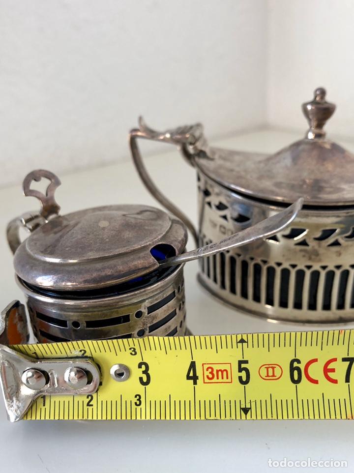 Antigüedades: Salero y azucarero con cucharilla, plata inglesa - Foto 5 - 194327120