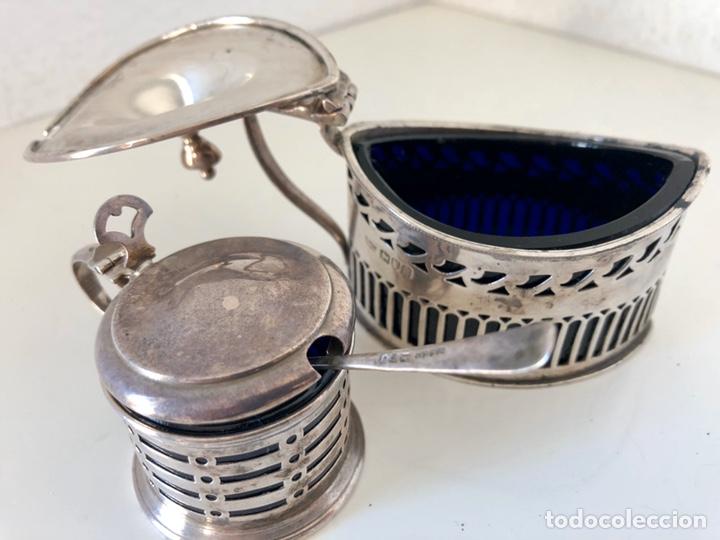 Antigüedades: Salero y azucarero con cucharilla, plata inglesa - Foto 7 - 194327120