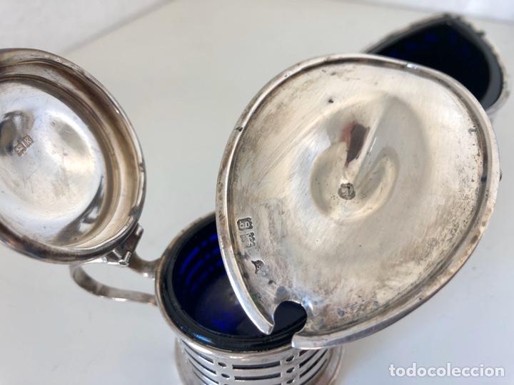 Antigüedades: Salero y azucarero con cucharilla, plata inglesa - Foto 9 - 194327120