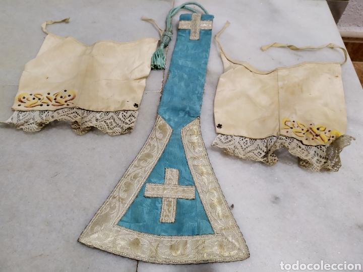 Antigüedades: antigua estola recortada de capellan en plata con manguitos años 40 - Foto 2 - 194328306