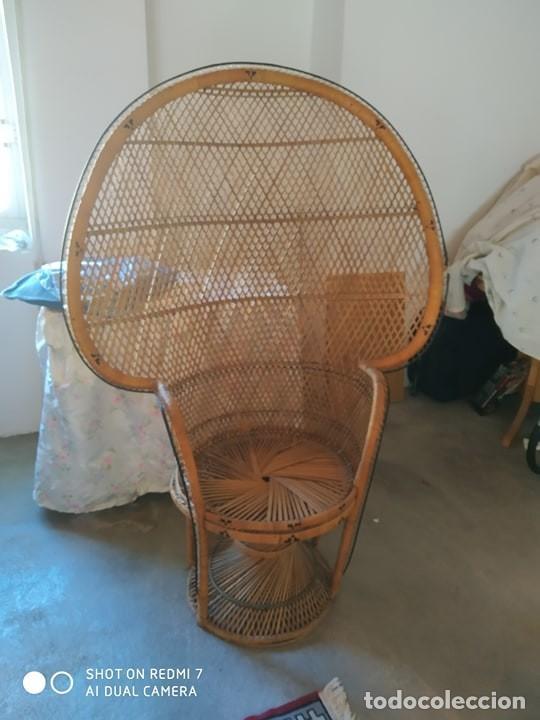 Antigüedades: silla sillon mimbre trenzado, años 70 correcta, tipo Enmanuel, bonito diseño vintage - Foto 2 - 194328822