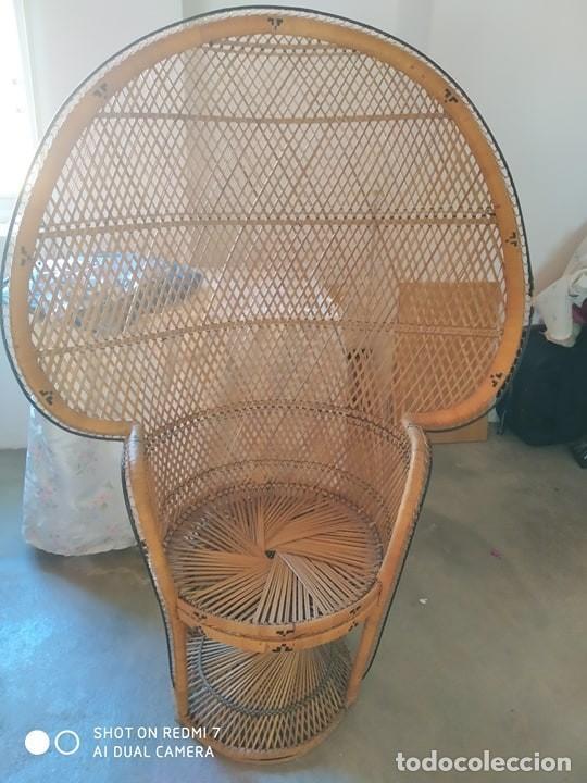Antigüedades: silla sillon mimbre trenzado, años 70 correcta, tipo Enmanuel, bonito diseño vintage - Foto 3 - 194328822