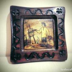 Antigüedades: CUADRO DE PINTOR -PINTADO SOBRE CERAMICA -LA CERAMICA MIDE 11X11-CON EL MARCO DE MADERA 20X20. Lote 194337333