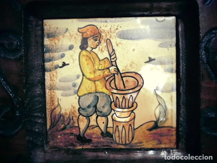 Antigüedades: CUADRO DE CERAMICA PINTADO -MIDE LA CERAMICA 11X11- CON ELMARCO 20X20- - Foto 2 - 194337705