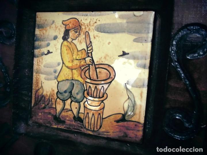 Antigüedades: CUADRO DE CERAMICA PINTADO -MIDE LA CERAMICA 11X11- CON ELMARCO 20X20- - Foto 5 - 194337705