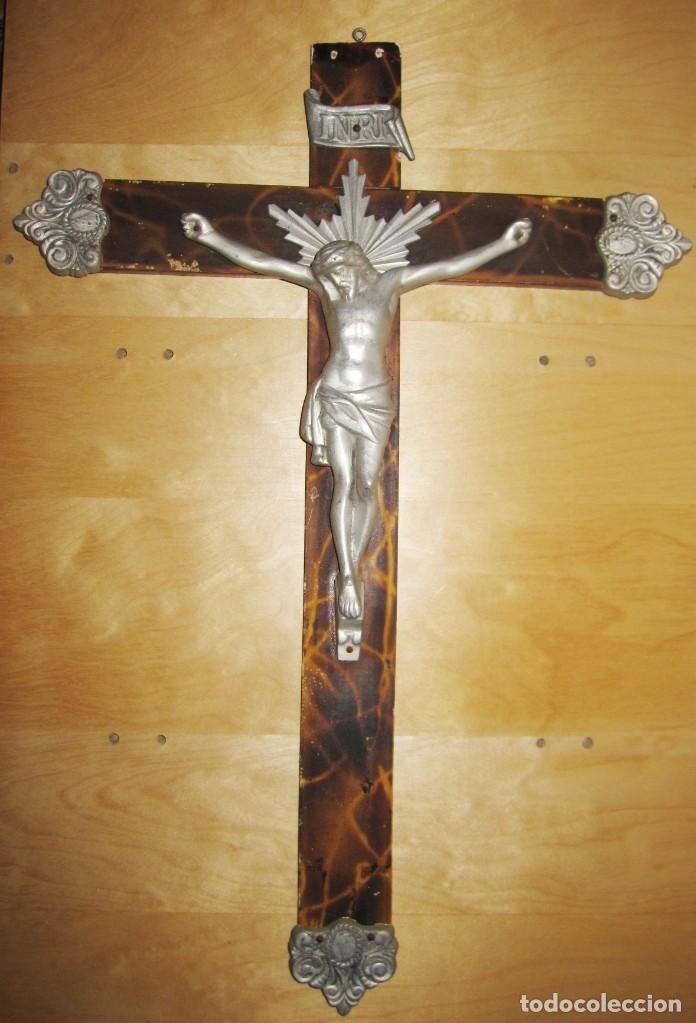 Antigüedades: Antiguo Crucifijo Cruz pared Jesús Cristo - Foto 4 - 194337885