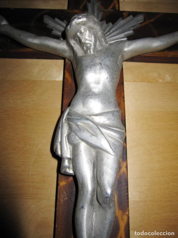 Antigüedades: Antiguo Crucifijo Cruz pared Jesús Cristo - Foto 18 - 194337885