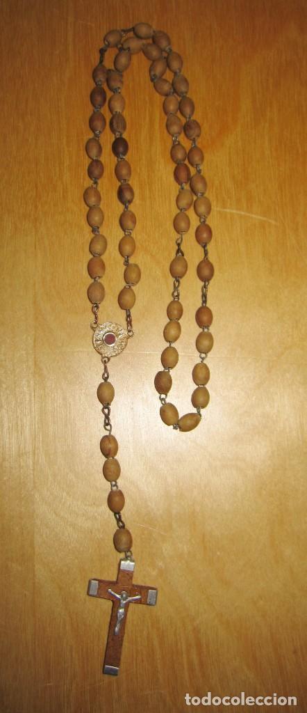 Antigüedades: Cruz peana madera antiguo rosario Jerusalem reliquia relicario Tierra Santa - Foto 4 - 194338038